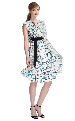 Vine Print Crepe De Chine Dress by PETER SOM Now Available on Moda Operandi