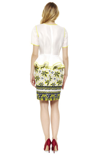Acid Yellow Lace Peplum Blouse by PRABAL GURUNG Now Available on Moda Operandi