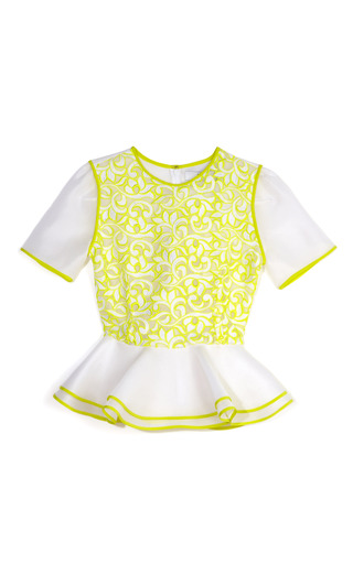 Medium prabal gurung multi acid yellow lace peplum blouse
