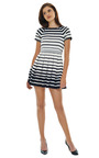 Variegated Stripe Knit Pleated Dress by TIBI Now Available on Moda Operandi