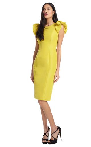 Silk Faille Puff Sleeve Sheath Dress by CAROLINA HERRERA Now Available on Moda Operandi