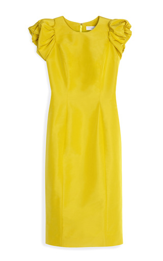 Medium carolina herrera yellow silk faille puff sleeve sheath dress