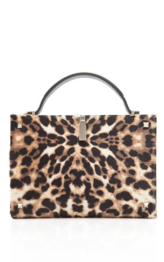 Medium valentino print leopard hair calf minaudiere