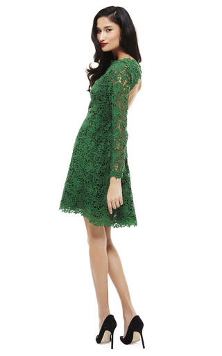 Emerald Backless Lace Dress by VALENTINO Now Available on Moda Operandi