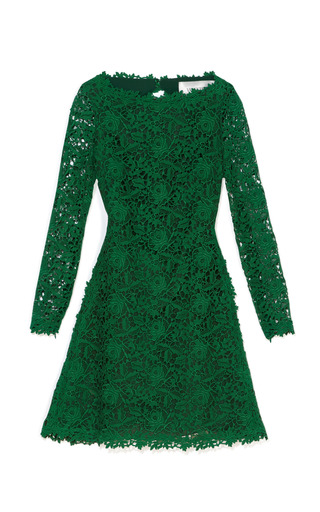 Medium valentino green emerald backless lace dress