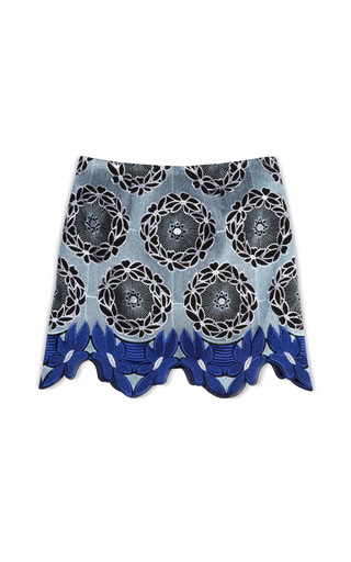 Medium thakoon addition print lace hem mini skirt