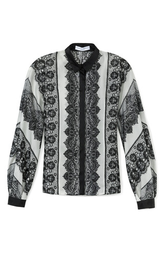 Lace Striped Print Button Front Blouse by CAROLINA HERRERA Now Available on Moda Operandi