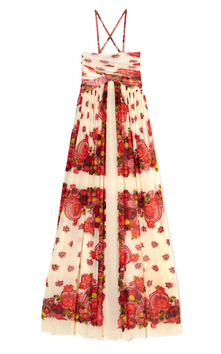 Medium jean paul gaultier print ruched 2 in 1 empire maxi dress 2