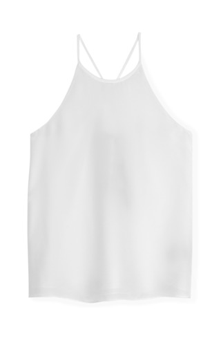 Medium tibi white ivory solid silk halter tank 2
