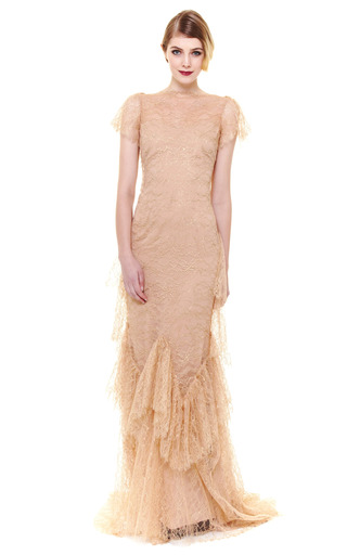 Ruffle Sleeve Lace Gown by MARCHESA Now Available on Moda Operandi