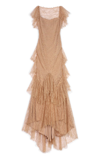 Medium marchesa nude ruffle sleeve lace gown 2