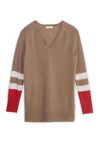 Medium equipment brown asher v neck color block sweater