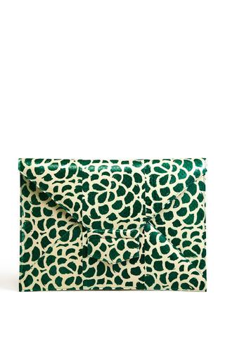 Medium oscar de la renta multi evergreen white elaphe flat envelope clutch 2