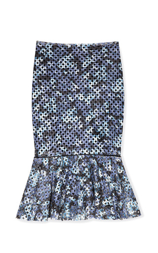 Medium patricia viera print flower print and hand punched knee length skirt