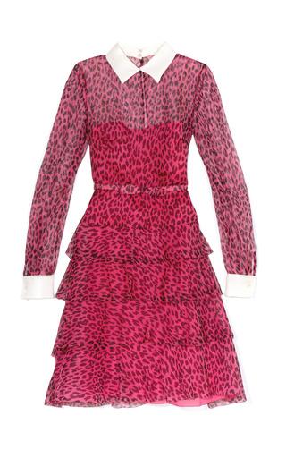 Medium valentino pink graphic leopard ruffle skirt shirt dress