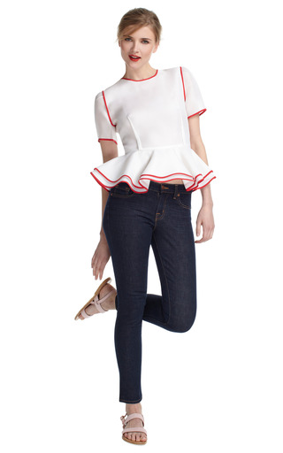 Sheer Peplum Blouse by PRABAL GURUNG Now Available on Moda Operandi