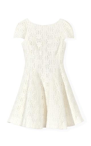 Medium tibi white ivory jules lace cap sleeve dress