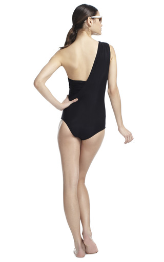 One Shoulder Drape Maillot by ADRIANA DEGREAS Now Available on Moda Operandi