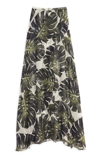 Medium adriana degreas green tropical long skirt