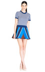 Blue Diagonal Stripe Skirt by OSTWALD HELGASON Now Available on Moda Operandi