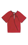 Vermillion Slashed Wrap Blouse by PRABAL GURUNG Now Available on Moda Operandi