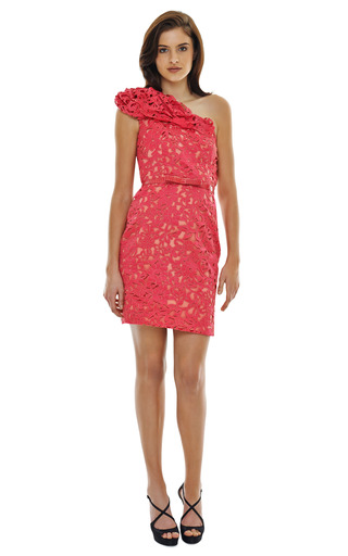 Corded Laser Cut Lace Dress by MARCHESA Now Available on Moda Operandi