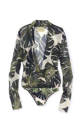 Medium adriana degreas green tropical body suit