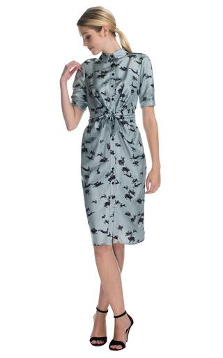 Rabbit Print Twill Elbow Ruched Sleeve Button Front Shirt Dress by CAROLINA HERRERA Now Available on Moda Operandi