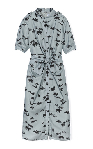 Medium carolina herrera light grey rabbit print twill elbow ruched sleeve button front shirt dress 2