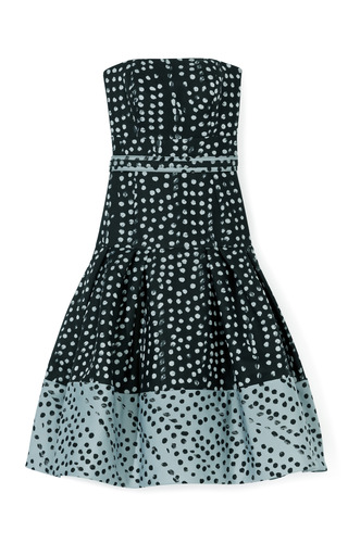 Medium carolina herrera light grey polka dot jacquard strapless drop waist party skirt dress 2