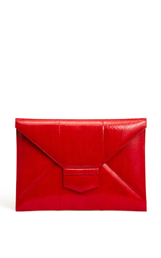 Medium oscar de la renta red carnation flat envelope clutch