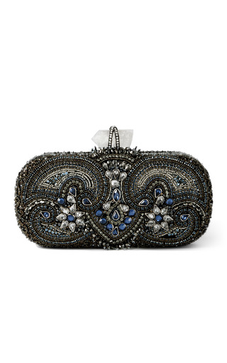 Lily Embroidered Clutch In Blue Multi by MARCHESA Now Available on Moda Operandi