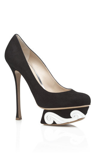 Medium nicholas kirkwood black suede swirl pump