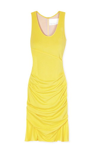 Medium yigal azrouel yellow matte crepe jersey dress 3