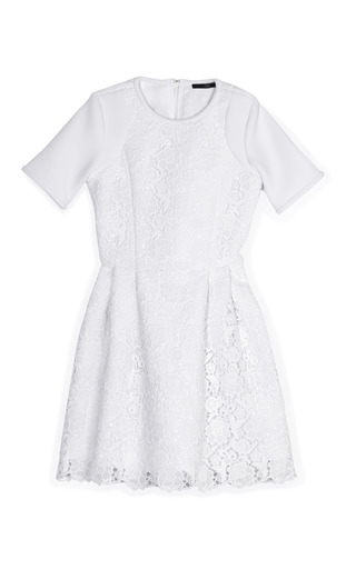 Medium tibi white white sigrid lace dress