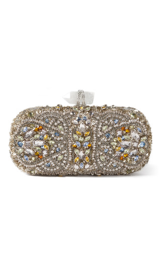 Medium marchesa multi lily embroidered clutch in silver multi 2