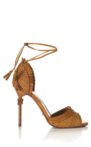 Medium sergio rossi brown kalhari woven sandal