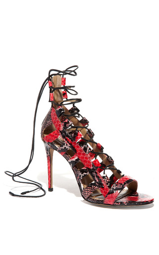 Medium aquazzura red red amazon lace up bootie