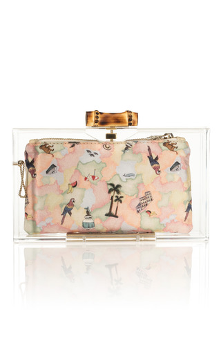 Medium charlotte olympia clear pandora bamboo clutch