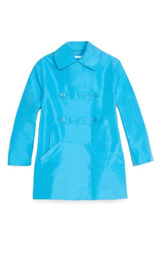 Medium carven blue technical faille coat