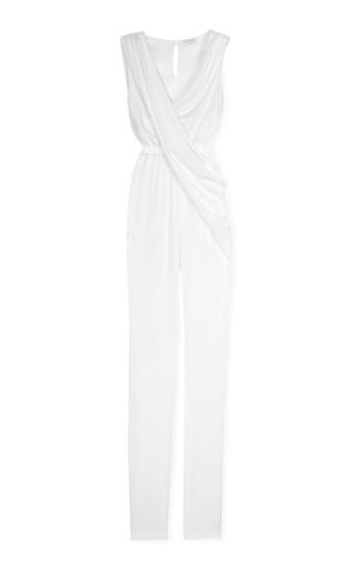 Medium vionnet white double stretch draped jumpsuit 2