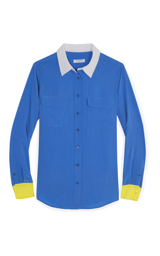 Medium equipment blue slim signature colorblocked blouse