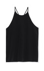 Black Solid Silk Halter Tank by TIBI Now Available on Moda Operandi