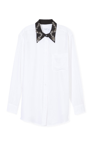 Medium equipment white daddy embellished collar blouse