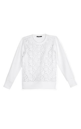 Medium tibi white sigrid lace sweatshirt 2