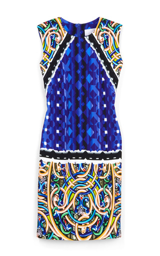 Medium peter pilotto multi script blue stamp dress