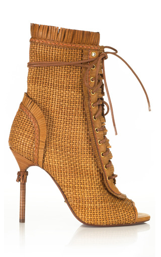 Medium sergio rossi brown kalhari woven bootie