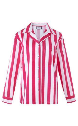 Medium poplin white iris classic striped cotton pajama set