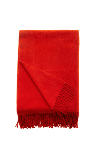 Medium armand diradourian red hand loomed chevron weave cashmere throw 2