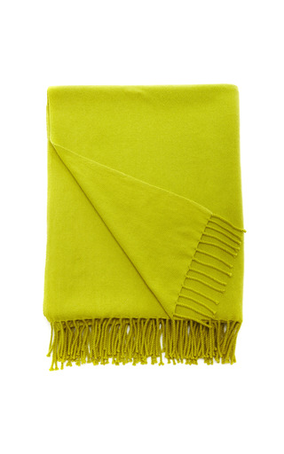 Medium armand diradourian yellow hand loomed chevron weave cashmere throw